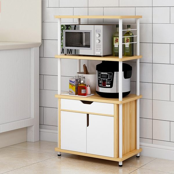 三層附抽屜微波爐架 廚房置物架 廚房收納架 三層收納櫃《YV9608》HappyLife