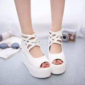 夏 超高跟坡跟涼鞋女白色鬆糕鞋厚底防水台內增高魚嘴鞋俏腳丫