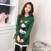 純棉連帽T恤女套頭中長款春秋薄款連帽學生韓版寬鬆拼接假兩件連衣裙
