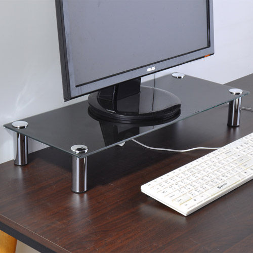 ☆嘉事美☆防爆強化玻璃螢幕架/桌上架/置物架(黑色) 辦公椅 電腦桌 茶几 穿衣鏡