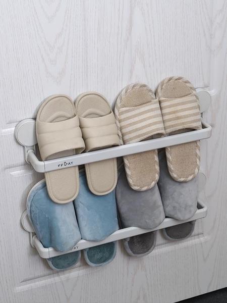 浴室拖鞋架墻壁免打孔架子衛生間鞋架收納神器架子置物架壁掛瀝水 新年禮物