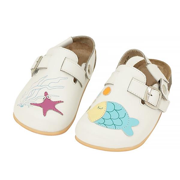 【Jingle】我的海洋寶貝前包後空軟木休閒鞋(經典白兒童款)