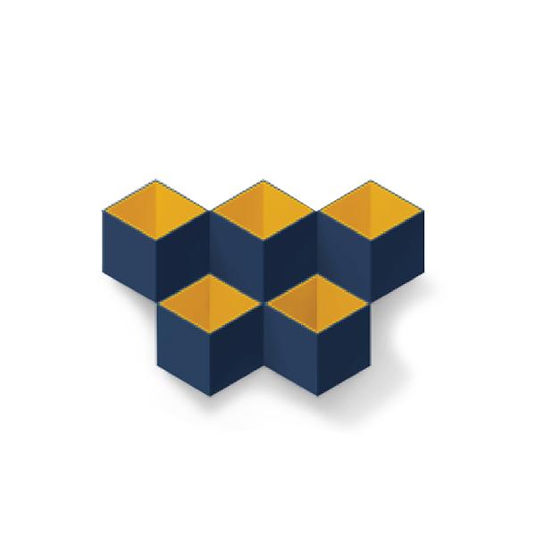 TOYOYO  trick box幾何造型文具收納架 - 深藍/黃