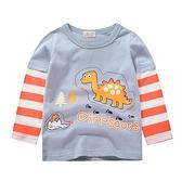 小恐龍條紋袖長袖上衣 童裝 長袖上衣