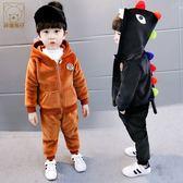 童裝男童冬裝套裝免運新款秋冬季中小童兒童韓版運動金絲絨兩件套