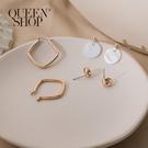 Queen Shop【07030610】立體方形垂墜耳針式耳環三件套組*現+預*