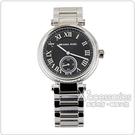 MICHAEL KORS 經典黑面銀錶帶羅馬數字腕錶(銀)