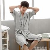 睡袍男士夏季浴衣純棉日式和服浴袍夏天長款長袍睡裙男袍薄款睡衣 有緣生活館