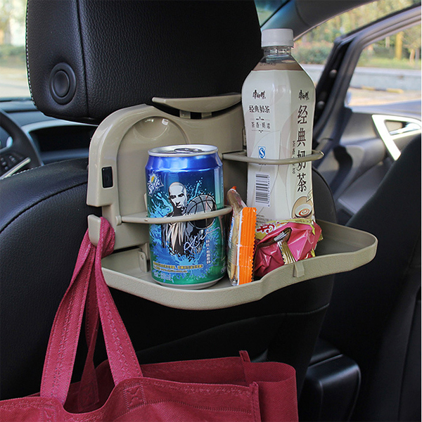 BO雜貨【SV6380】汽車多功能折疊餐桌 椅背飲料置物袋 置物架掛勾  杯架  後座椅 餐盤 野餐 露營