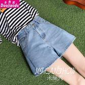 夏季短牛仔褲女高腰新款韓版a字闊腿學生熱褲寬松顯瘦短褲子