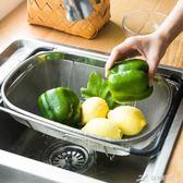 水槽瀝水籃不銹鋼水池瀝水架家用可伸縮濾水籃碗碟架籃子 igo 樂芙美鞋