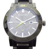 BURBERRY 黑灰色格紋面盤不銹鋼石英錶 Unisex BU9340 【BRAND OFF】