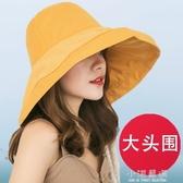 大頭圍漁夫帽太陽帽超大帽檐 大沿遮臉女防曬大碼大號遮陽帽子~小淇 ~