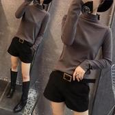 韓版新款半高領打底衫磨毛長袖女裝t恤純色秋冬百搭修身顯瘦上衣 米娜小鋪