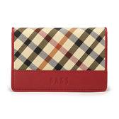 DAKS 經典格紋帆布名片夾(紅色)230124-11