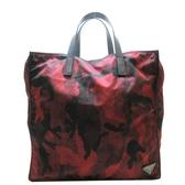 PRADA 普拉達 紅色迷彩造型PVC材質手提肩背兩用包  【二手名牌BRAND OFF】