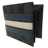 【COACH】立體配色橫紋PVC皮革男 8卡短夾附活動證件夾(黑灰)