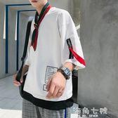 蝙蝠衫夏季T恤男七分袖假兩件7短袖韓版潮流衣服個性百搭嘻哈寬鬆蝙蝠衫 海角七號