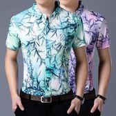 中青年男士夏裝大花冰絲燙金免燙短袖襯衫寬鬆大碼碎花上衣潮