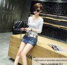 BRIGA-CWS08119韓版彈力牛仔超短裙女士修身中腰包臀防走光一步半身裙送腰帶
