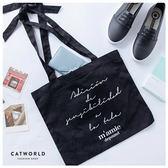 Catworld 草寫英文字綁結帆布袋【19500790】‧F