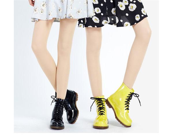 水晶女士馬丁雨靴  水鞋時尚【藍星居家】