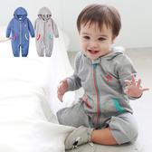 長袖連身衣 星星印花 連帽 拉鍊造型 男寶寶 女寶寶 爬服 哈衣 Augelute Baby 50484