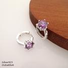 ☆§海洋盒子§☆ 質感六爪紫色鋯石.圈圈純銀易扣針式耳環《925純銀耳環》