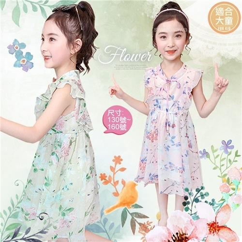 大童可~氣質優雅花朵飛飛袖雪紡洋裝-2色(290715)【水娃娃時尚童裝】