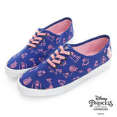 Disney 美女與野獸系列~手繪圖案綁帶休閒鞋-藍