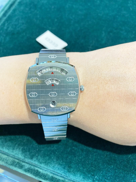 GUCCI Grip 系列腕表G YA133515 時尚女錶-銀35mm