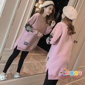 哺乳衣外出冬季2018新款韓版寬鬆刺繡長袖上衣辣媽款中長款孕婦裙