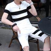 大碼運動套裝 夏季男士休閒短袖T恤五分短褲男青少年半截褲大褲衩兩件式 DR17620【Rose中大尺碼】