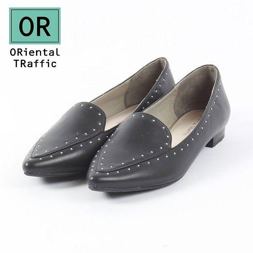 【ORiental TRaffic】洗鍊鉚釘滾邊平底鞋-洗鍊黑