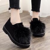 冬季棉鞋女豆豆鞋老北京布鞋女鞋加絨保暖雪地靴平底一腳蹬毛毛鞋