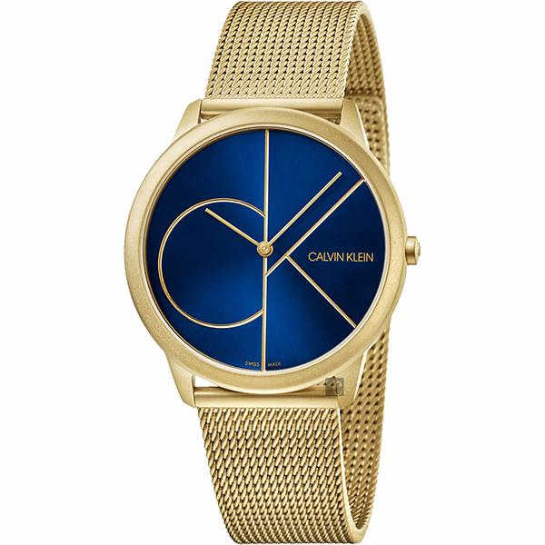 Calvin Klein CK Minimal 經典大LOGO手錶-藍x金/40mm K3M5155N