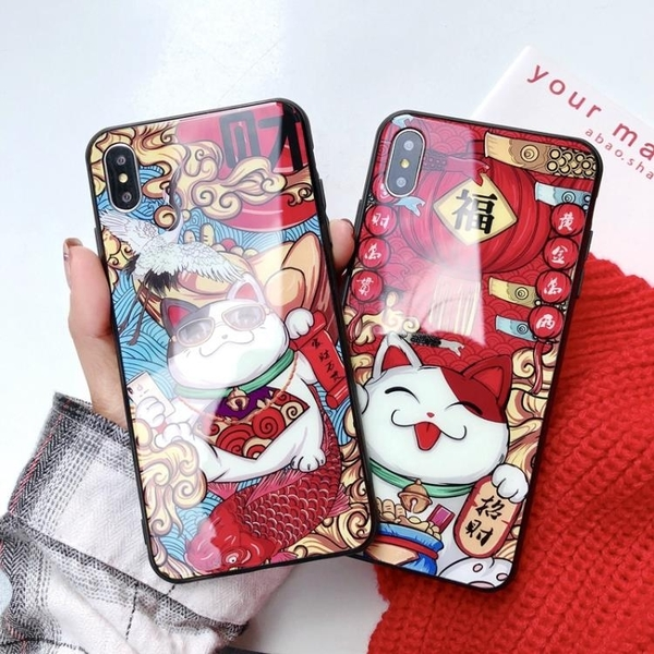 Xmax蘋果11手機殼X鋼化玻璃XR恭喜發財XSmax潮7p鏡面6S招財貓ipho