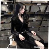 蕾絲V領洋裝長袖女初春秋裝2020新款冬季金絲絨打底裙子(pinkq 時尚女裝)
