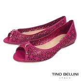 Tino Bellini 巴西 精雕圖騰魚口娃娃鞋_ 桃紅A83045 歐洲 款