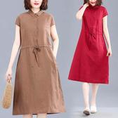棉麻顯瘦襯衫領開襟洋裝-中大尺碼 獨具衣格 J2944
