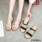 PAPORA時尚花邊兩穿式平底拖鞋K35577黑/卡其(偏小)