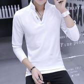 T恤男長袖立領純棉 潮流男裝韓版秋裝白色上衣服男士V領POLO衫潮  韓風物語