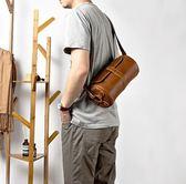 男士挎包牛皮復古斜挎包胸包時尚圓筒小背包真皮單肩包男包潮 挪威森林
