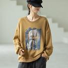 純棉卡通印花長袖T恤 圓領寬鬆休閒套頭上衣/4色-夢想家-0917