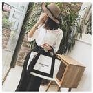 撞色帆布子母大包包女韓版潮字母印花手提包側背斜背包  黛尼時尚精品
