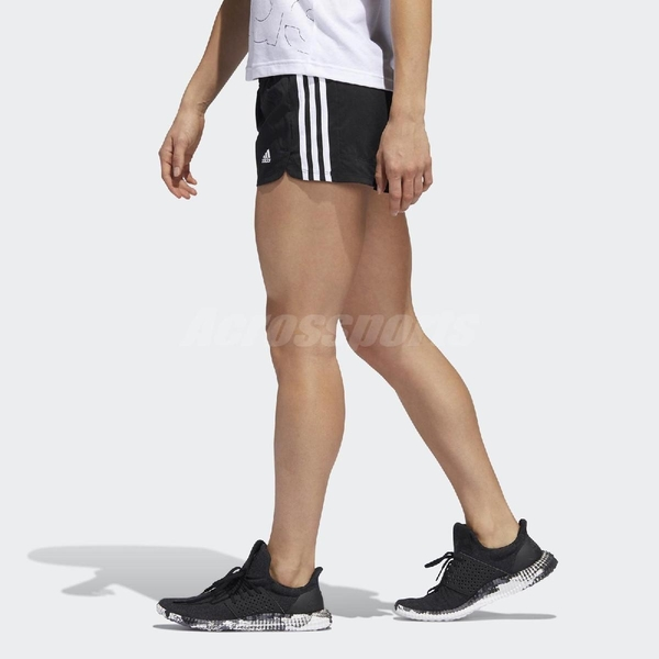 adidas 短褲 Pacer 3-Stripes Woven Shorts 黑 白 女款 貼身 運動休閒 【ACS】 EC0475