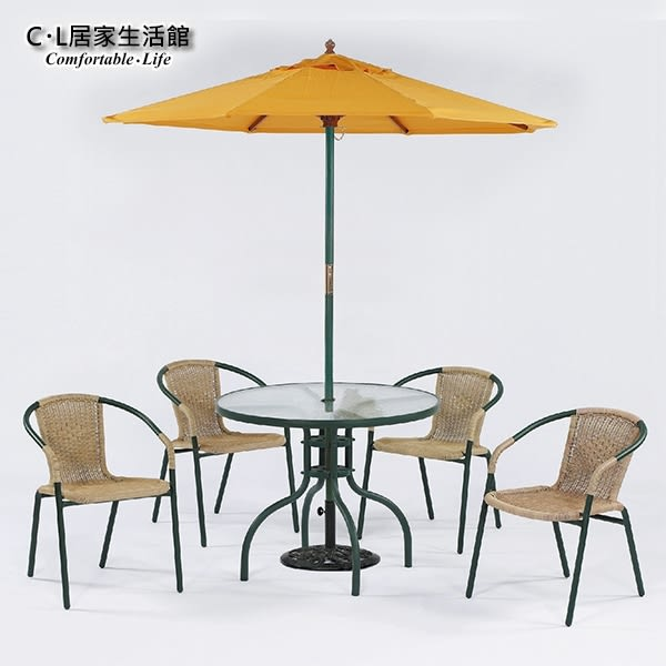 【 C . L 居家生活館 】Y830-5+Y836-4 休閒玻璃圓桌椅組(1桌4椅)含傘及傘座