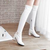 2017秋冬季新款高筒靴子尖頭粗跟過膝長靴