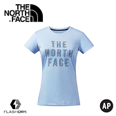 【The North Face 女款 FlashDry Print Tee 短袖排汗衣〈藍〉】2XV4/短袖/排汗衣/運動上衣