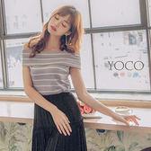 東京著衣【YOCO】柔美清新一字領條紋上衣-S.M.L(170645)